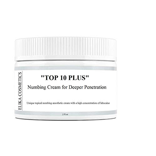 ELIKA COSMETICS, Lidocaine,'TOP 10 PLUS', unique topical numbing anesthetic cream with a high concentration of lidocaine, Local and Anorectal Discomfort, 2 fl.oz
