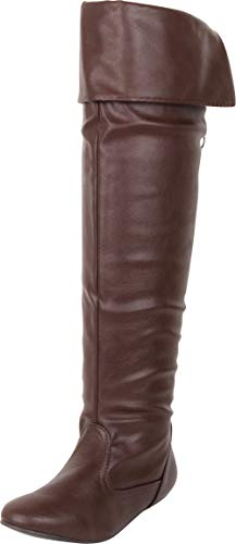 Cambridge Select Women's Thigh High Fold Over Cuff Back Tie Flat Over The Knee Boot,8.5 B(M) US,Brown PU