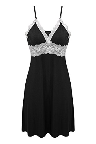 Ekouaer Womens Chemise Lingeire Nightgown Cotton Sleepwear,Viscose-black,Small