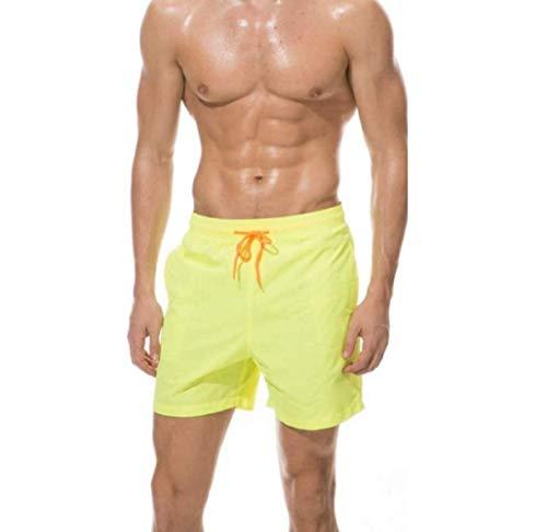 Ducomi Ben - Bañador para hombre y playa, con triple bolsillo – Pantalón corto de malla interior, elástico y secado rápido. Calzoncillos para natación, voleibol, playa y Surf amarillo M