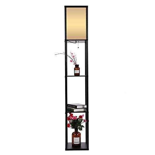 YSJJEFB Lámparas de pie Moderno Elegante de Madera de Roble de Tela Lámpara de pie con 3 estantes de Almacenamiento Integrado Decoración for Sala de Estar Dormitorio Pasillo Estudio