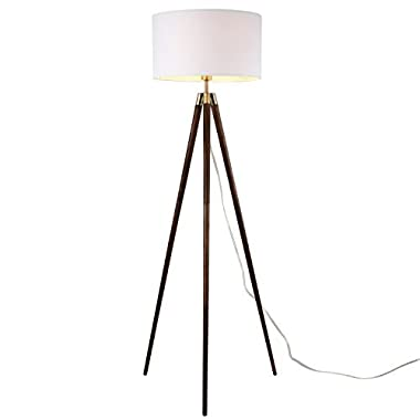 Light Society Celeste Tripod Floor Lamp, Walnut Wood Legs with Antique Brass Finish and White Fabric Shade, Mid Century Contemporary Modern Style (LS-F233-WAL)