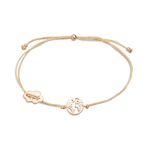 XENOX XS3167R Damen Armband Welt Erde Sterling-Silber 925 Rose beige 22 cm