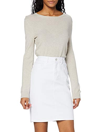 VERO MODA Damen Vmhot Nine Hw Dnm Pencil Skirt Noos Ci Rock, Weiß (Bright White Bright White), L EU