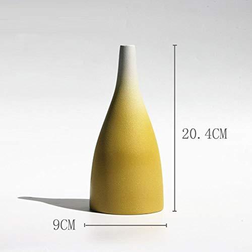 Jarrón amarillo estilo moderno. Ideal para el hogar.