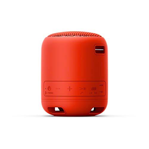 Sony SRS-XB12 Bluetooth Lautsprecher (tragbar, kabellos, Extra Bass, wasserabweisend, Freisprechfunktion für Anrufe) rot