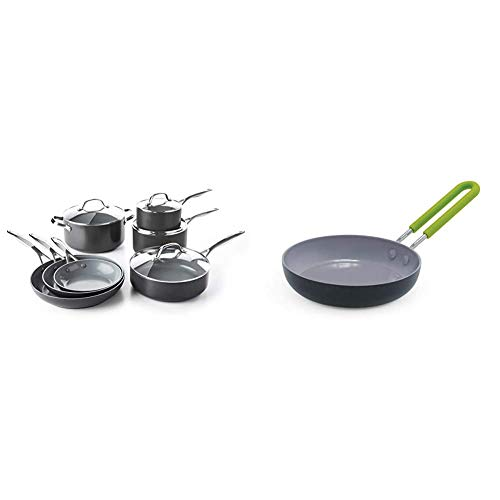 "GreenPan Valencia Pro 100% Toxin-Free Healthy Ceramic Nonstick Metal Utensil Dishwasher/Oven Safe Cookware Set, Pots and Pans, 11-Piece, Gray & Mini Healthy Ceramic Nonstick, Round Egg Pan, 5"", Gray"