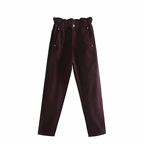 XIELH Multicolor Paper Bag Jeans Mujer Bud Pantalones-Borgoña, S