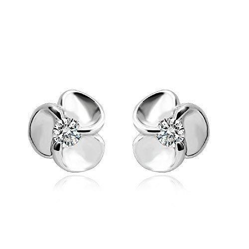 J&F - Orecchini da donna a forma di fiori con cristalli Swarovski Crystal, placcati Argento