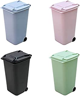 Mini Desktop Trash Can,Small Kitchen Countertop Trash Recycling Containers,Mini Wastebasket 4 Piece Set,Desk...