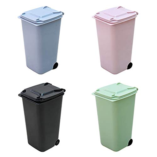 Small Trash Can,Mini Desk Trash Can with Lid,Desk Organizer Garbage Storage Bin,Pen Holder Office Desktop Supplies,Small Kitchen Countertop Trash Recycling Containers,Mini Wastebasket 4 Piece Set