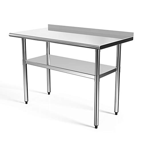 SUNCOO Commercial Stainless Steel Work Table Food Grade Kitchen Prep Workbench Metal Restaurant Countertop Workstation with Adjustable Undershelf 48 in Long x 24 in Deep W/Backsplash