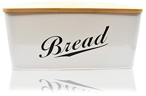 RoyalHouse Modern Metal Bread Box with Bamboo Lid, Bread Storage, Bread Container for Kitchen Counter, Kitchen Decor Organizer, Vintage Kitchen