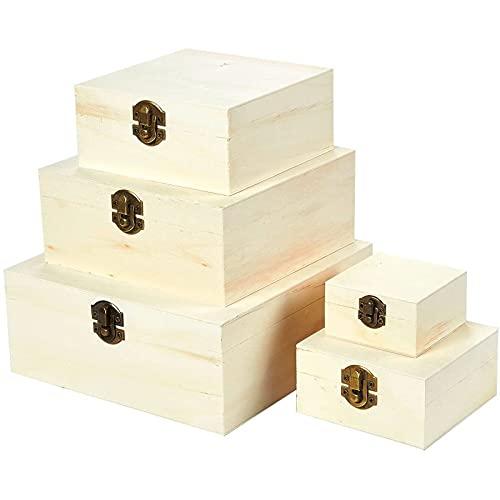 Cajas de Madera - Juego de 5 piezas de cajas en nido con tapa y bisagra, color madera natural sin terminar
