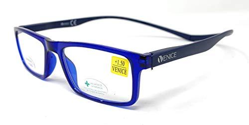 VENICE EYEWEAR OCCHIALI | Gafas de lectura, presbicia, vista cansada, Diseño en Colores. VENICE Neck Iman - Dioptrías: 1 a 3,5 (Azul, 1.00)