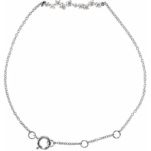 Pulsera de oro blanco de 14 quilates pulido de 0,33 quilates con diamantes acentuados para mujeres, 18 centímetros