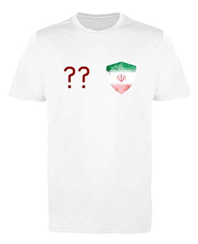 Comedy Shirts - Iran Trikot - Wappen: Klein - Wunsch - Damen Trikot - Weiss/Rot Gr. S