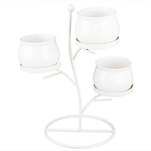 Vaso da Fiori in Ceramica Espositore in Ferro Battuto Combinazione di Fioriere in Metallo per Piante per la Decorazione Domestica(White Basin + White Rack)
