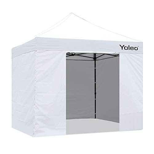 Yoleo Pop Up Canopy Tent with Sides 10x10 Commercial Instant Canopy Tent Easy Up Shelter with 4 Walls, Wheeled Carry Bag,4 Weight Bags (White)