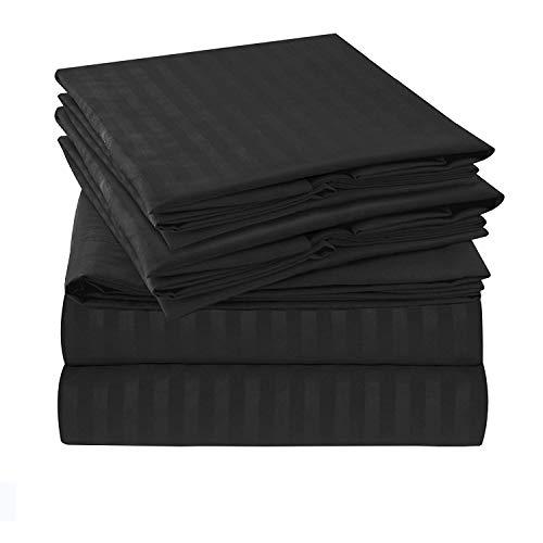 Tula Linen 1000 Hilos 4 Piezas Juego de sábanas (Negra Rayas, Unido Doble 135 x 190 cm (121,92 cm 6 in x 6 ft 3 in), tamaño de Bolsillo 44 cm) 100% algodón Egipcio Premium Calidad