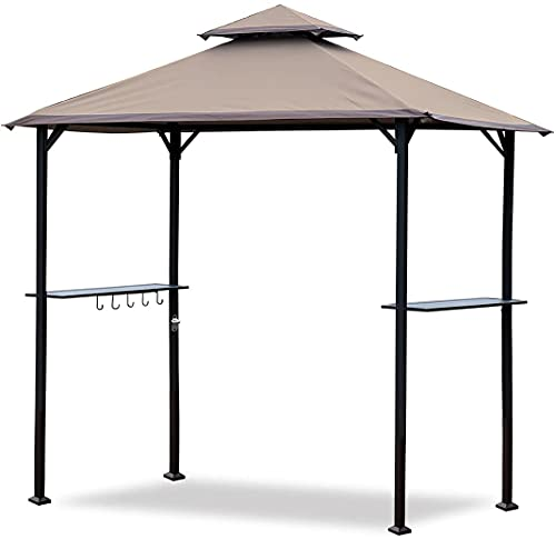 CoastShade 8'x 5' Grill Gazebo Double Tiered Outdoor BBQ Canopy,Grill Gazebo Shelter for Patio and Outdoor Backyard BBQ's with LED Light x 2 (Beige)