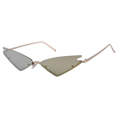 Fransande Gafas de sol de ojo pequeño para mujer de medio marco rojo espejo gafas de sol mujer triple esquina gafas sombras hombres UV400 (dorado)