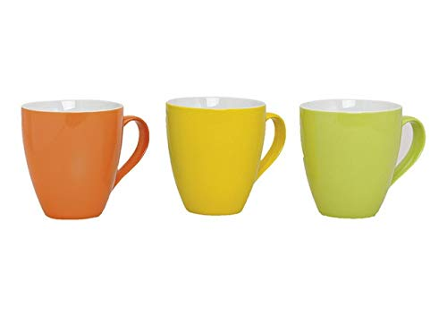 mucplants 3er Set Jumbo Tassenset 450ml aus Porzellan gelb, orange und grün Kaffeetassen Teetassen Porzellantassen