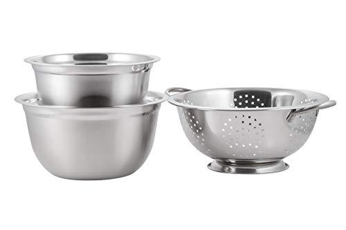 McSunley 8qt Mixing Bowl with 5qt Colander Set, 5 Qt/8 Qt, Silver