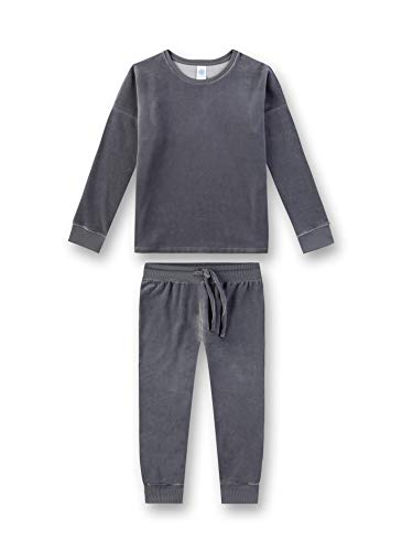 Sanetta Mädchen Pyjama Zweiteiliger Schlafanzug, Grau (Mid Grey 1987), (Herstellergröße: 140)