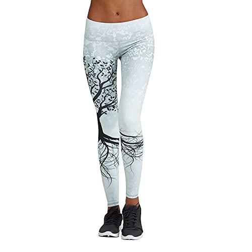 EUCoo Pantalones de yoga elásticos para mujer con estampado de árbol del mundo para entrenamiento, gimnasio, pantalones recortados