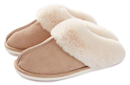 Womens Slipper Memory Foam Fluffy Soft Warm Slip On House Slippers,Anti-Skid Cozy Plush for Indoor Outdoor Tan 9.5-10.5