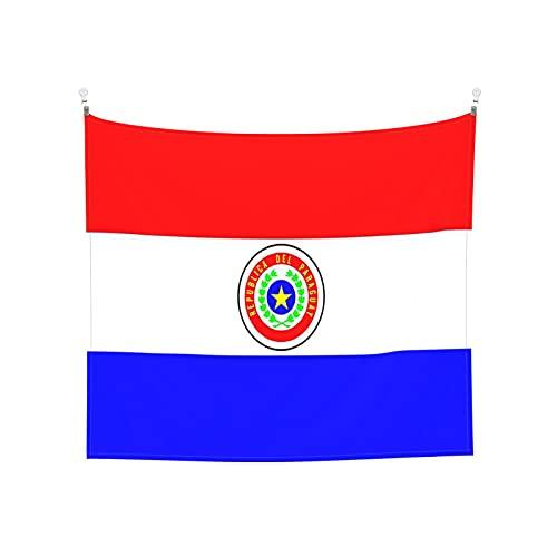 Paraguay-Flagge Tapisserie Wandbehang Tarot Boho Beliebte Mystic Trippy Yoga Hippie Wandteppiche für Wohnzimmer Schlafzimmer Wohnheim Heimdekor Schwarz & Weiß Stranddecke