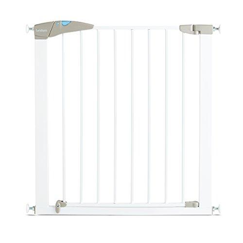 Lindam Barrera blanca de seguridad con puerta y ajuste a presión. 76-82 cm. Máximo 117cm con extensión