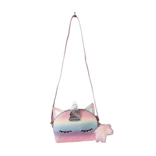 TENDYCOCO Mini Unicornio Bolso bandolera Moda Glitter Monedero Bolsas de hombro de dibujos animados para niñas Monedero lindo de carga para niños niña - L