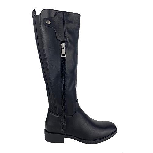 51238-Flacher Stiefel fur Frauen mit Gummizug im Manschettenknopf und Reissverschluss, Herbst Winter 2020. Size 38 Negro