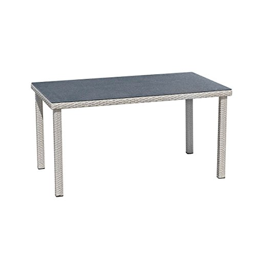 greemotion Table Malmö – Garden Table with Exquisite Glass Surface – Outdoor Rattan Table All Weather - Ideal for your Balcony, Garden, Patio, Porch or Conservatory – Garden Furniture