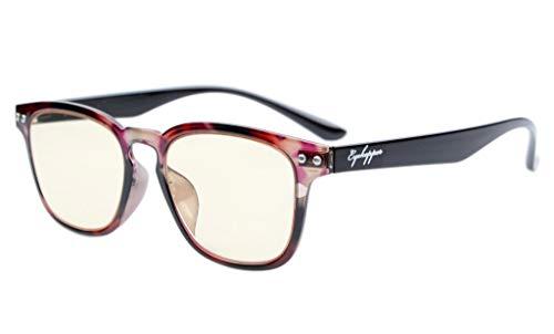 Eyekepper Vintage Flex Lichtgewicht kunststof frame computer bril leesbril (rode schildpad, geel getinte glazen) +2.0