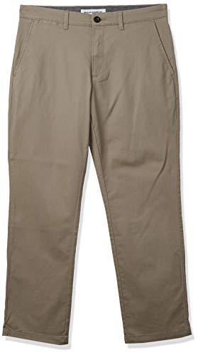 Amazon Essentials - Pantalones elásticos informales con corte recto para hombre, Beige (Khaki), 32W x 30L
