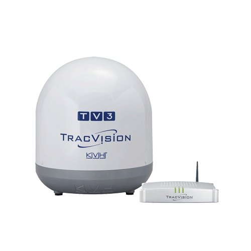 """KVH TracVision TV3, MFG# -01-0368-07. Satellite TV system for use with N. American systems. 14.5"""" dish for coastal cruising up to 100 mi. offshore. Includes TV-Hub WiFi Interface. 12/24VDC, single cable installation. Receiver/subscription required. / KVH-0"""