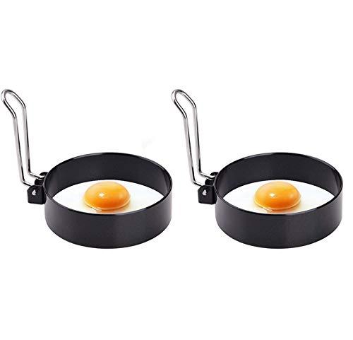 Xhwykzz Eier-Ringe für Spiegeleier, Edelstahl, antihaftbeschichtet, Metall, für Eier-Muffins, 2 Stück