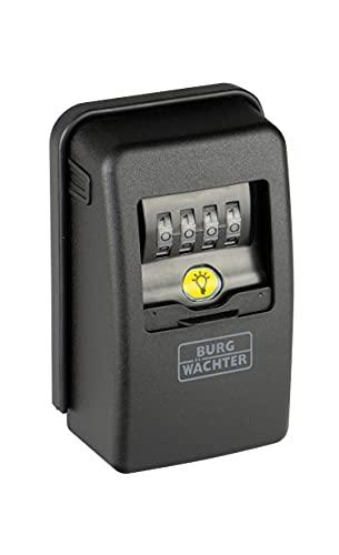 BURG-WÄCHTER Caja fuerte de llaves, con código numérico de 4 dígitos para el exterior y el interior, magnética, iluminada, segura, montaje en la pared, Key Safe 60L SB, negro