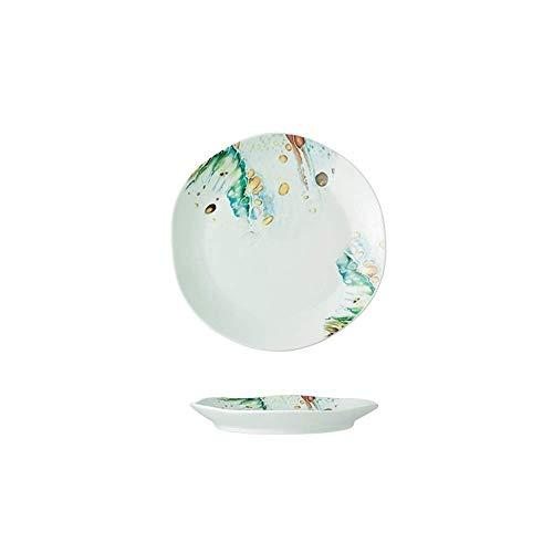 LHQ-HQ Porcelana Creativa Océano Viento vajilla de cerámica Plato de arroz Soup Bowl Cuenco Cuenco Cuchara Cuchara Plato Plato 18.8X2.4Cm