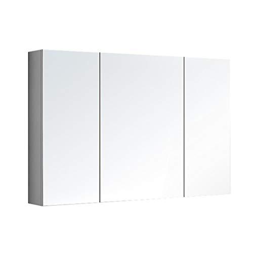 Spiegelschränke Badezimmerspiegelschrank Medizinschrank Dreitüriger Lagerspiegel Massivholzschrank Mit LED-Leuchten (Color : Weiß, Size : 90 * 65 * 14cm)