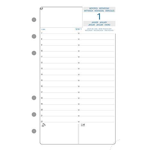 Exacompta - 18250E - Recharge perforée - millésimée journalier 12 mois -Janvier 2022 à décembre 2022 - Accessoire pour Exatime 17 - 10,5 cm x 17,2 cm - papier blanc