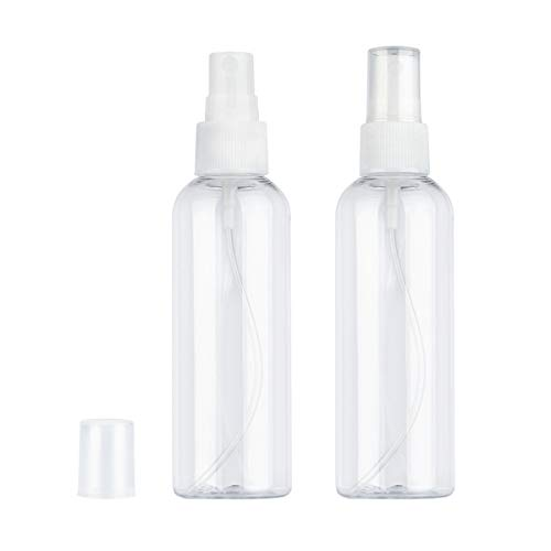 Yebeauty Empty Spray Bottles for Sample, 3oz Spray Bottle Clear Plastic Small Atomizer Spray Bottles with Fine Mist Sprayer for Travel Skin Care Essential Oil, Pack of 2