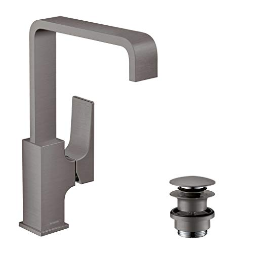 hansgrohe Metropol 32511340 230 - Grifo mezclador monomando para lavabo (con palanca y desagüe push-abierto), color negro y cromado