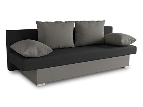 Schlafsofa Tina inklusive Bettkasten - Sofa mit Schlaffunktion, Bettsofa, Couchgarnitur, Couch, Bett, Schlafmöbel (Alova 10 + 04 (Grau + Schwarz))