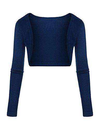 Parabler Bolero Damen Kurz Strickjacke Langarm Cardigan Schulterjacke Elegante Shrug Top Blau M