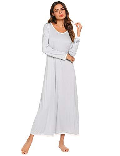 Ekouaer Nachtwäsche Damen Nachthemd Casual Loungewear Langarm Lang Nachthemd S-XXL - Grau - XX-Large