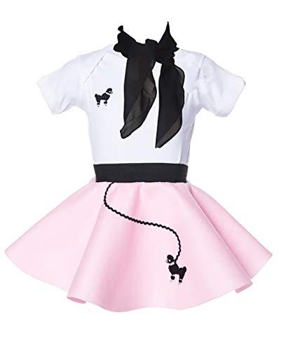 Hip Hop 50s Shop Baby/Infant 3 Piece Poodle Skirt Costume Set - Light Pink (6 month-3PC)